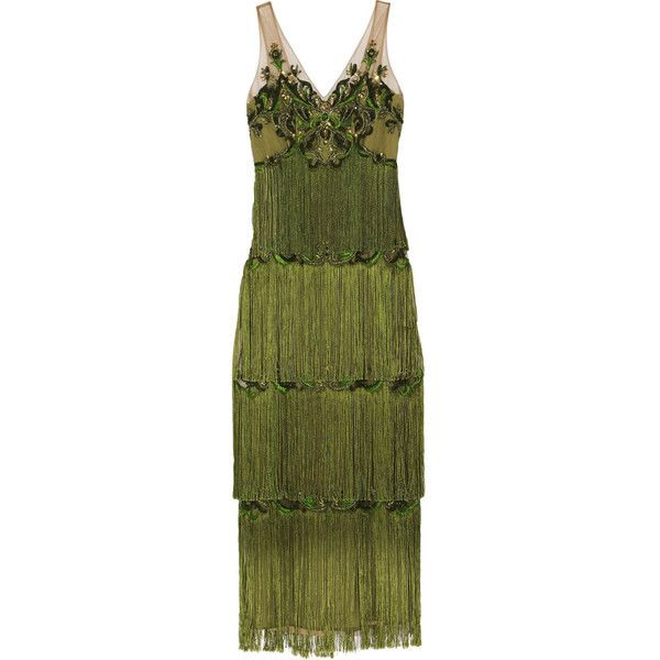 Marchesa Notte Embellished Fringed Tulle Gown €1170