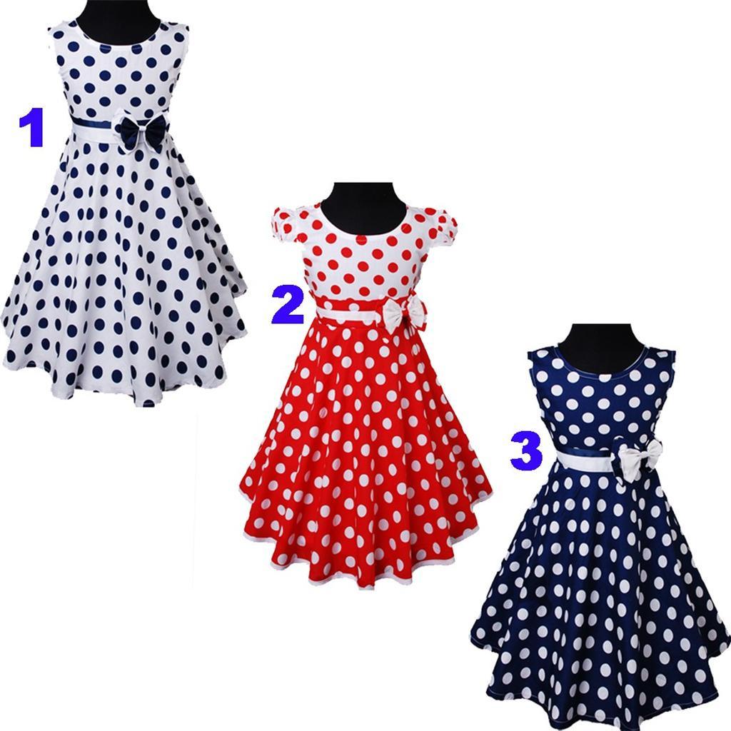 Marine Blau / Weiß / Rot Polka Dots Blume Mädchen