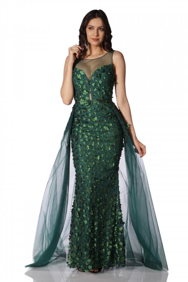 Maxi Abendkleid  Carmen Maxi Grünes Kleid Mit Blumen