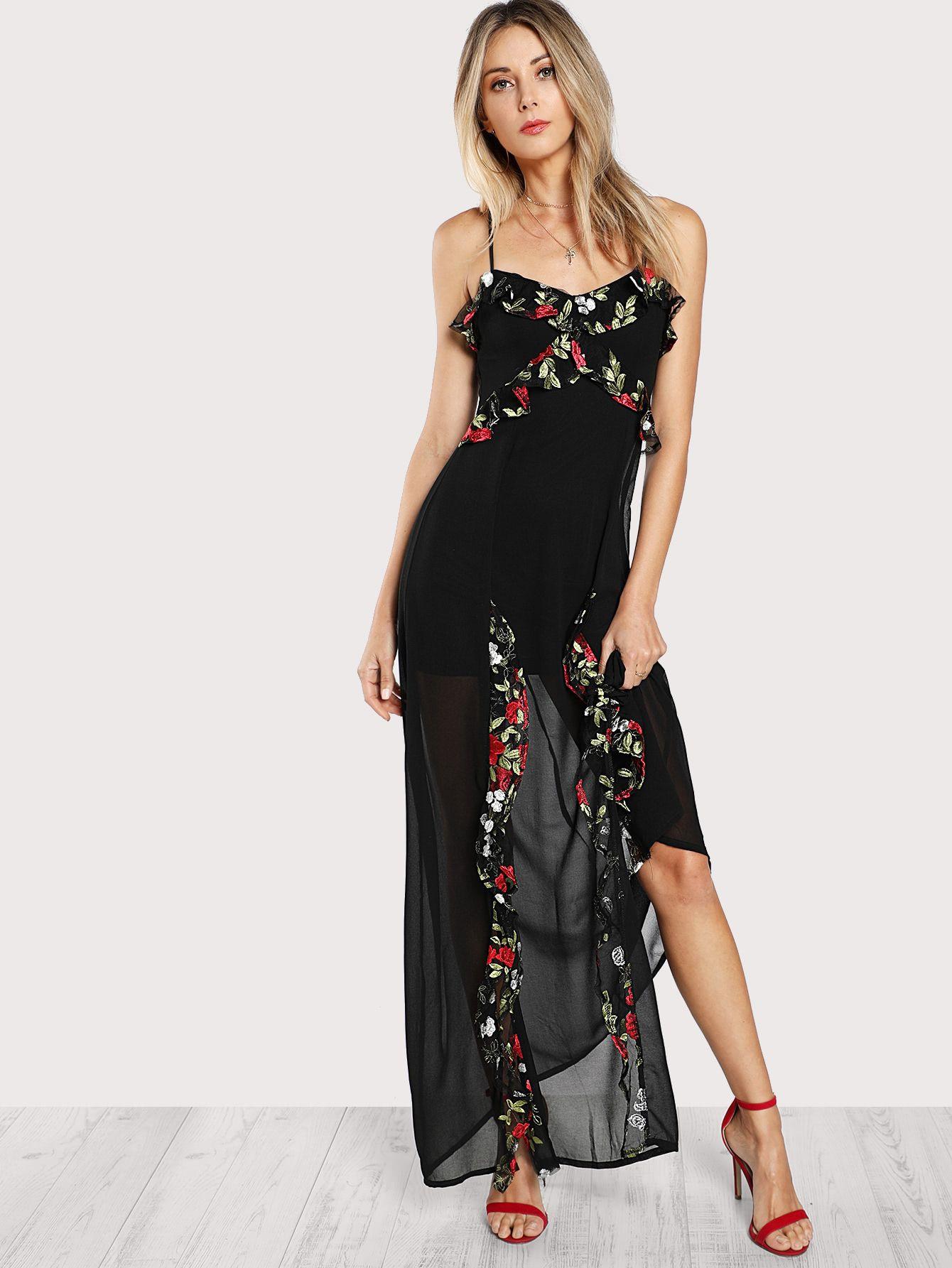 Maxi Kleid Mit Blumen Stickereien Und Falten  German