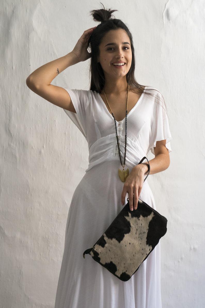 Maxi Sommerkleid Weiße Boho Kleid Romantische Boho Kleid