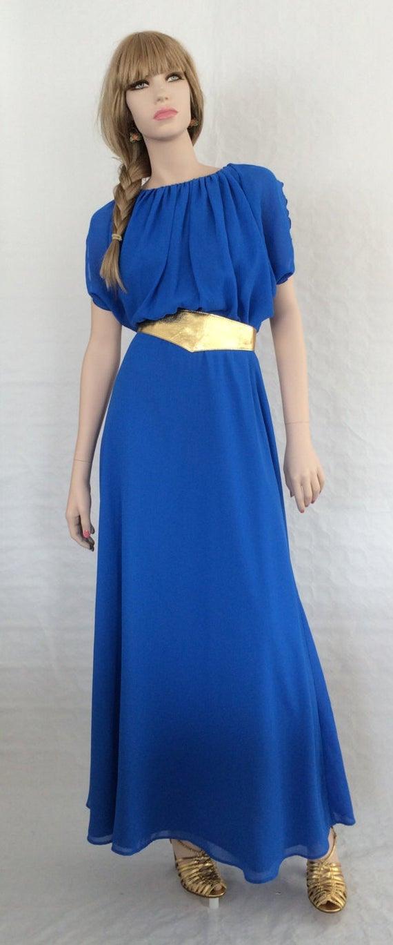 Maxikleid / Blau / Goldene Paspeln / Toga / Vintage