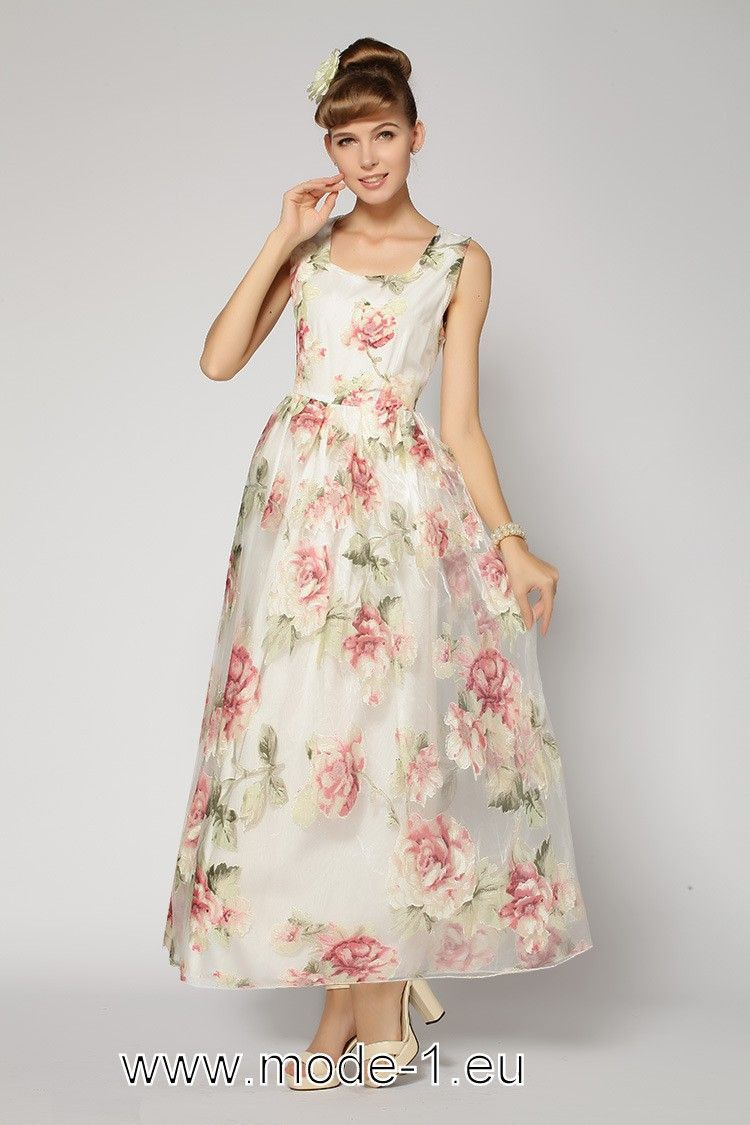 Maxikleid Blumen Rosa