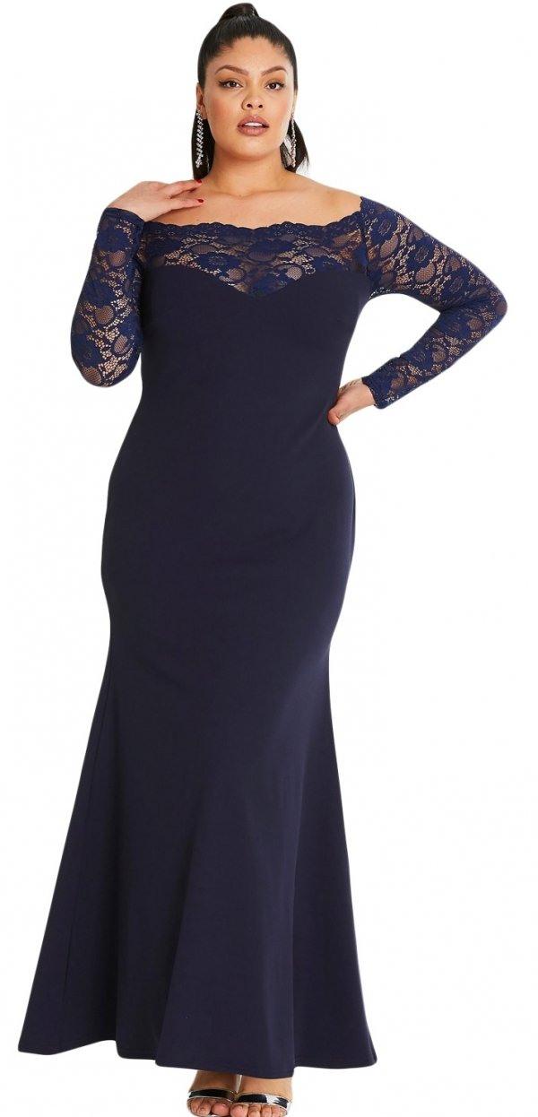 Maxikleid Judit Große Größen Blau  Elegante Kleider  Kleider