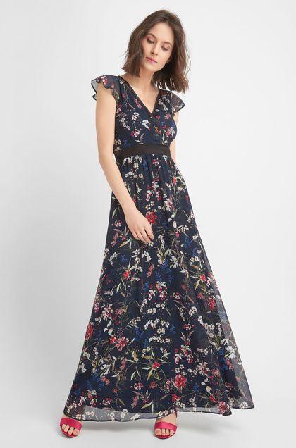 Maxikleid Mit Blumenprint  Blau  Sommer Kleider