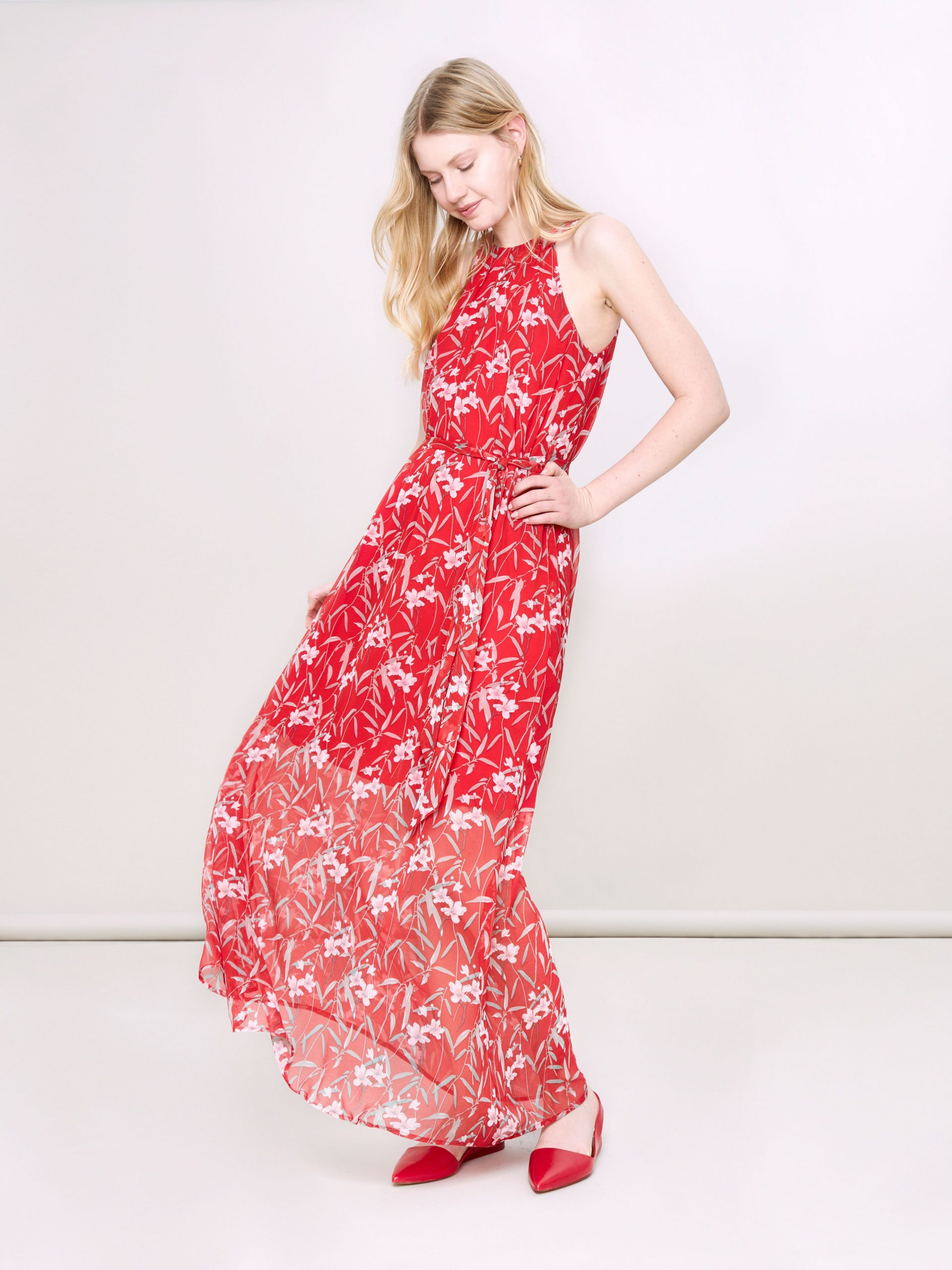 Maxikleid Pink Rot Sommer Blumen