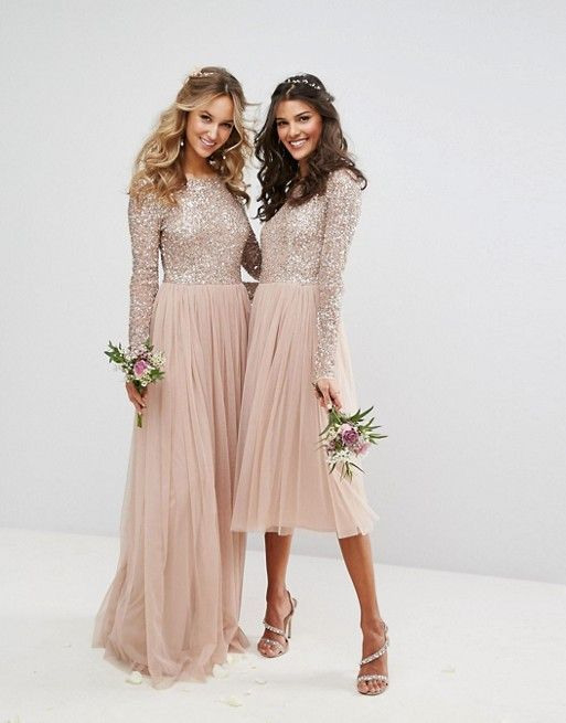 Maya  Longsleeved Maxi Dress With Tulle Skirt And