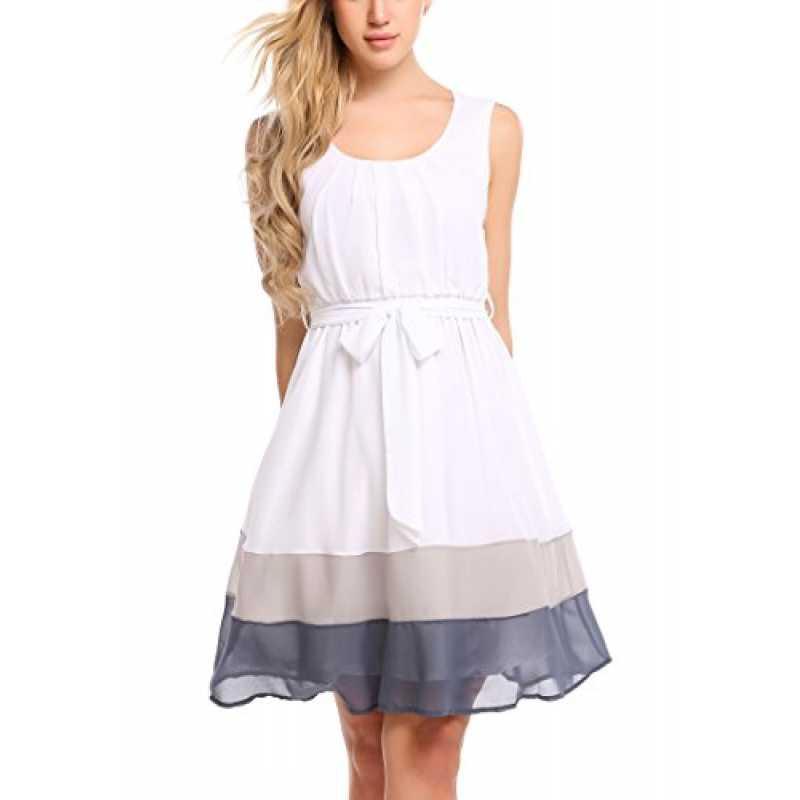 Meaneor Kleid Damen Chiffonkleid Elegant Sommerkleid