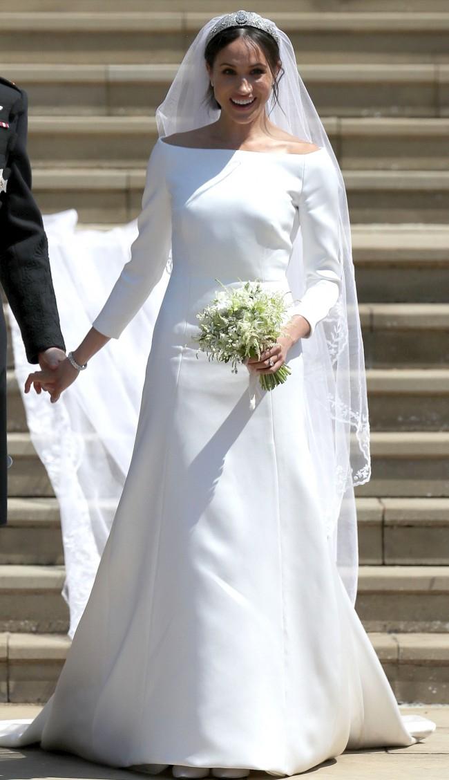 Meghan Markle Weds Prince Harry Elegante Lange Ärmel