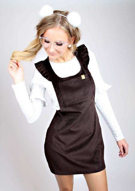 "Meko ""Cezaly"" Dress Latzkleid Ladies Cord Ruffles Brown"