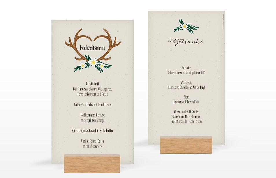 """Menükarte Hochzeit """"Heimatliebe""""  Menükarten Hochzeit"""