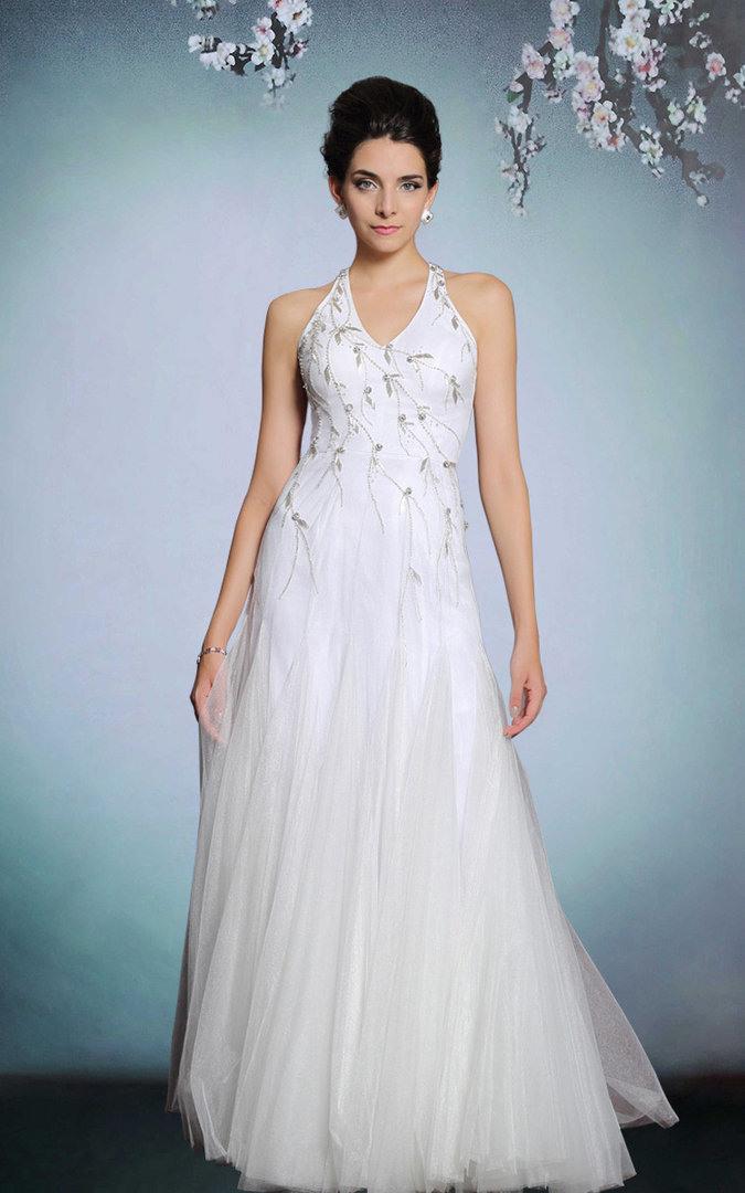 Mermaid Abendkleid Neckholder Weiß  Lactraummake Dream