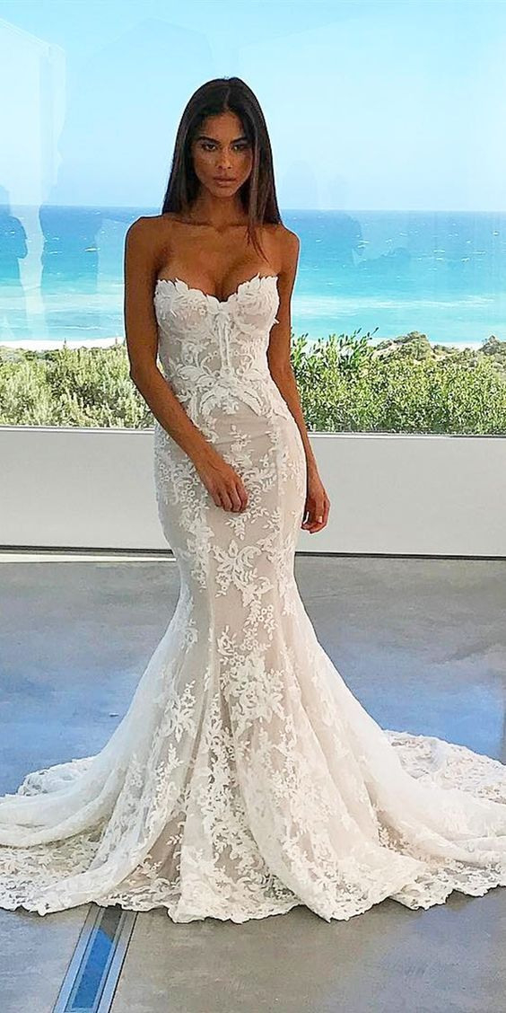Mermaid Sweetheart Lace Bridal Dresses For Destination