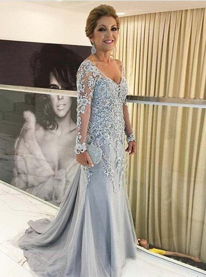 Mermaid Vneck Long Sleeves Long Mother Of The Bride Dress