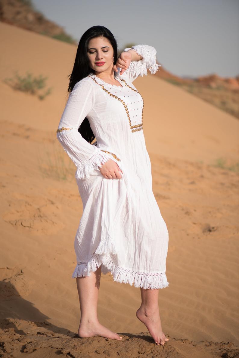 Messing Handarbeit Kleid Boho Kleid 100  Baumwolle Plus