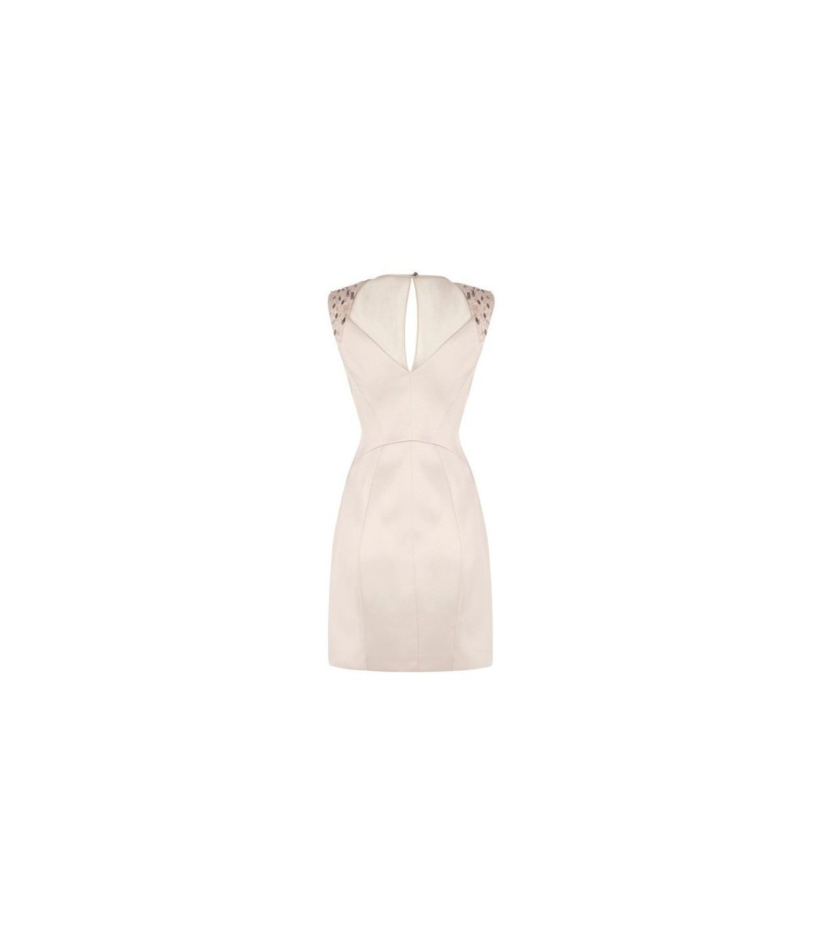 Metallic Pailletten Cremefarbenes Kleid Größe 42