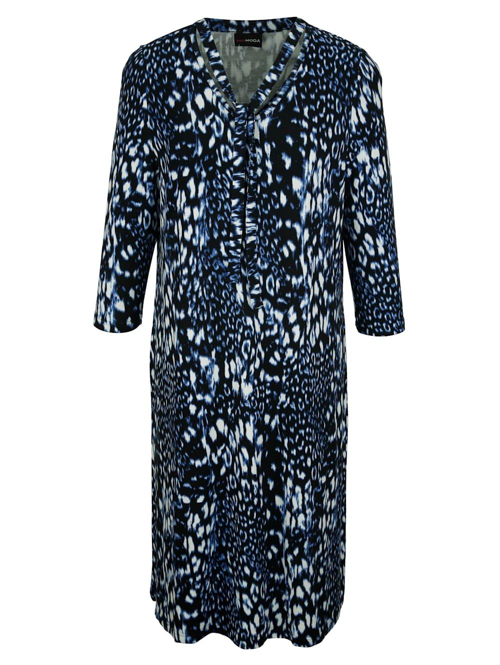 Miamoda Kleid Mit Dekobändern Am Ausschnitt  Mia Moda