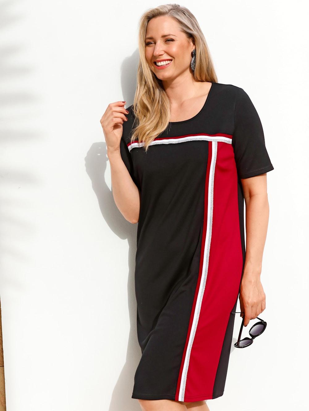 Miamoda Kleid Mit Streckendem Streifenbesatz  Happy Size