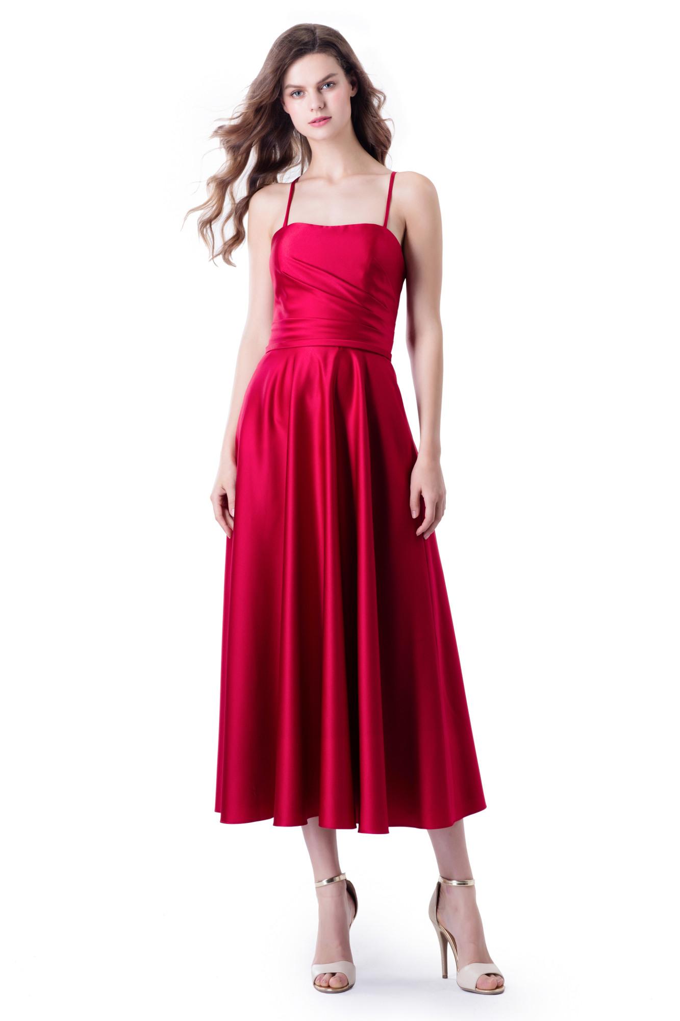 Midi Kleid Aus Satin Mit Corsagenoberteil In Rot  Mode