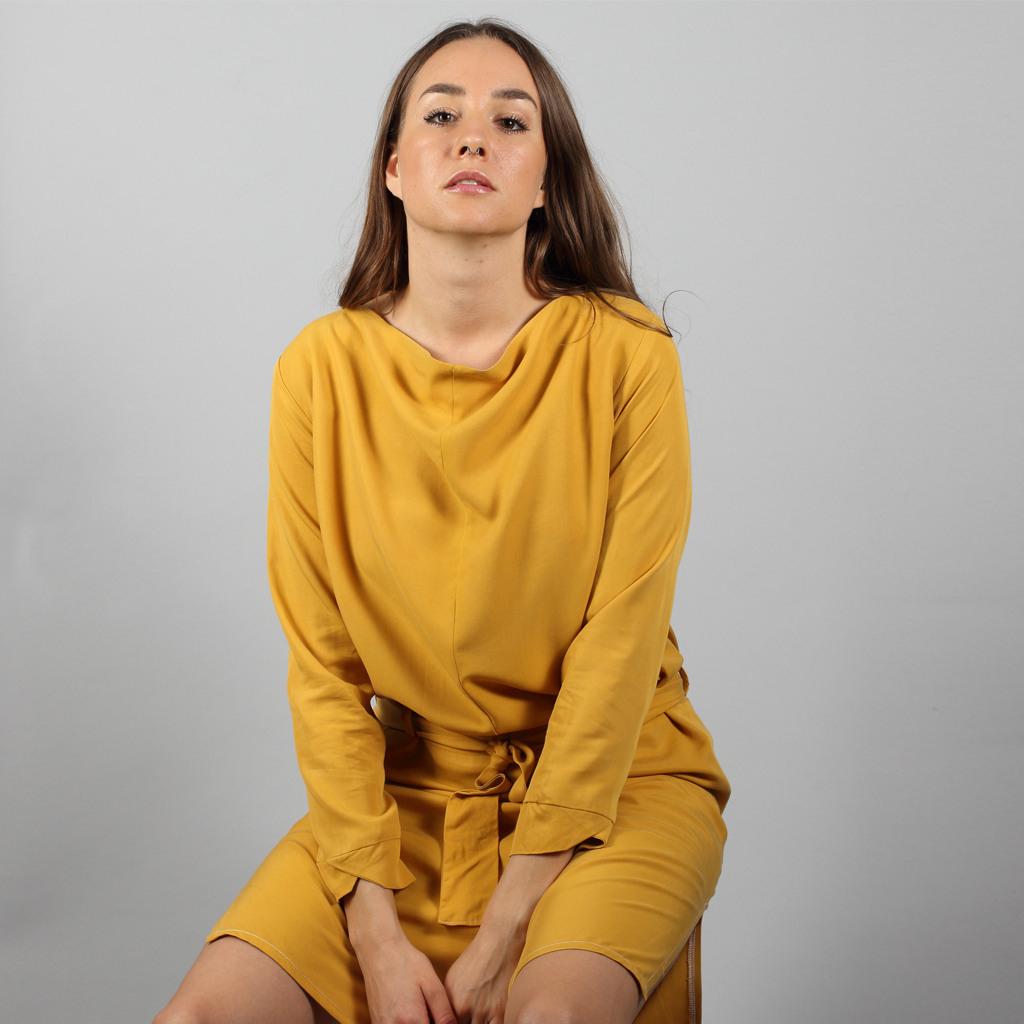 Midi Tencel Kleid Nyla In Senfgelb  Mandutrap