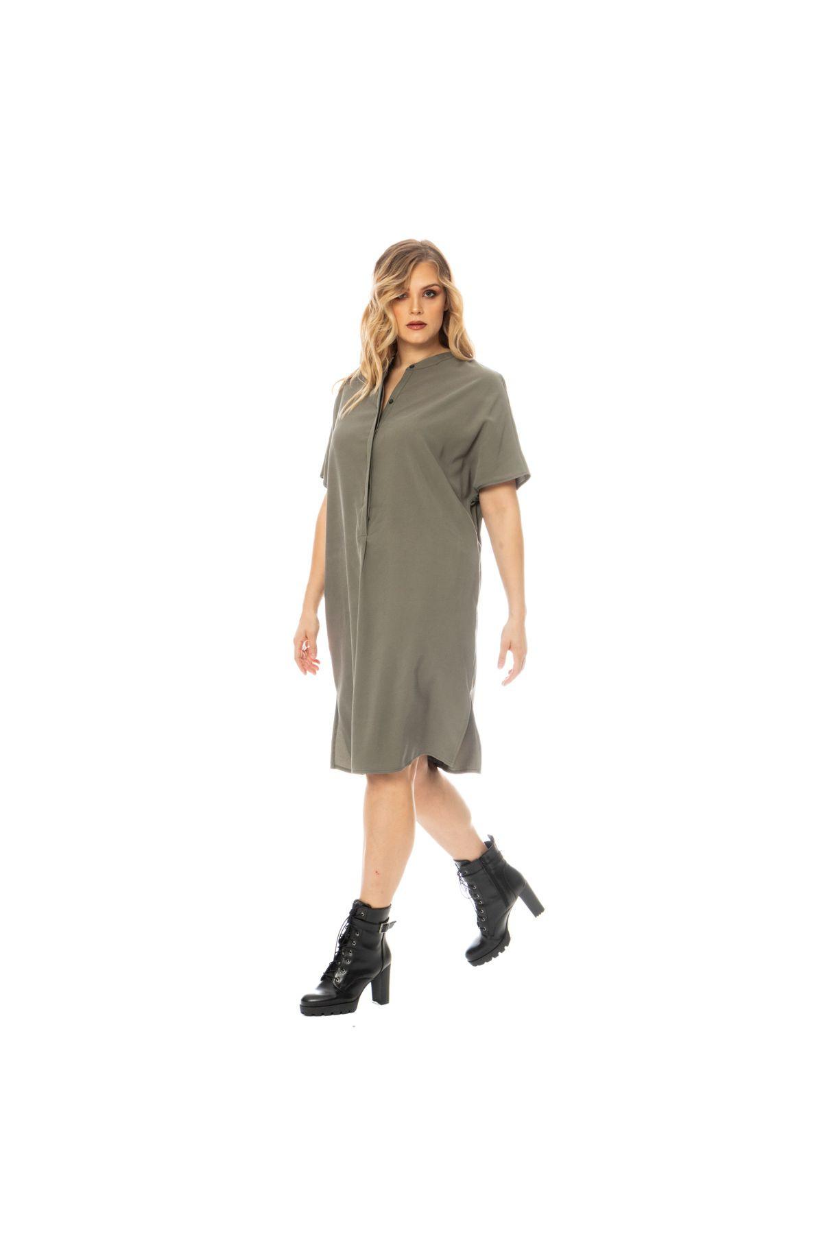 Midi-Tunika-Kleid Mit Seitentaschen In Khaki - Vivalous