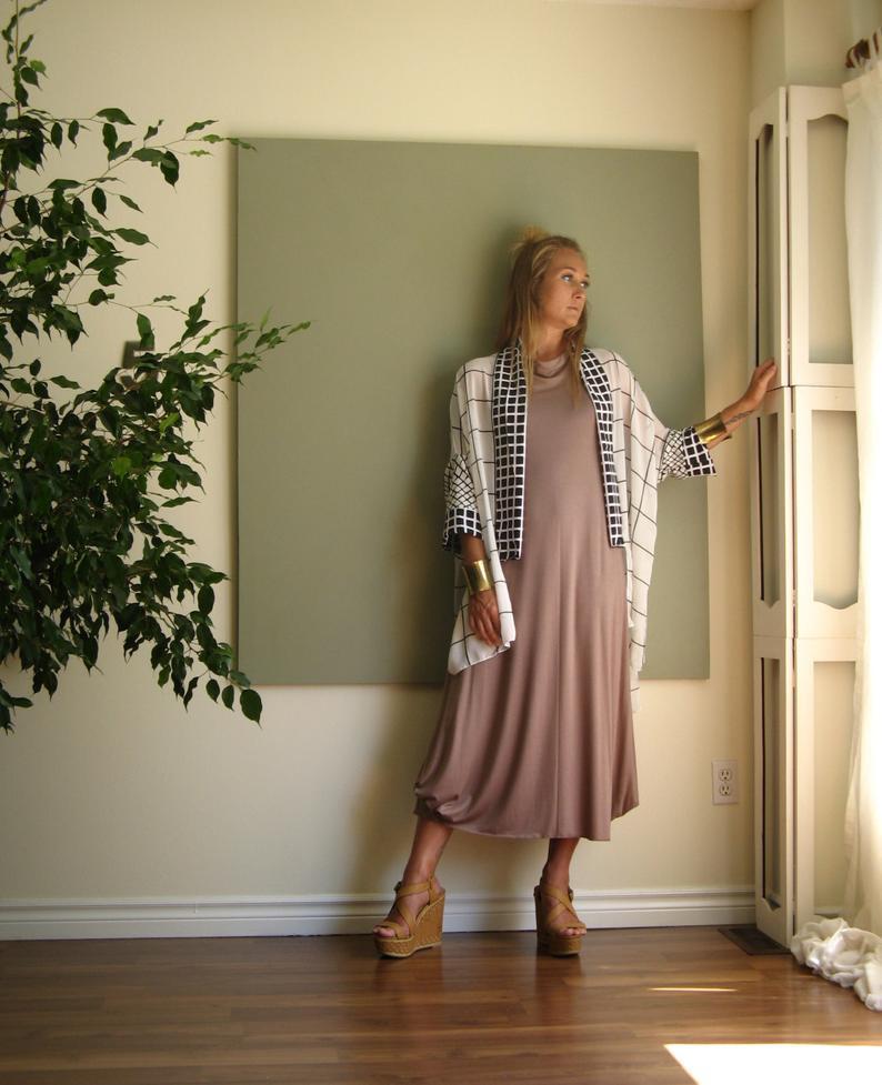 Midibohosommer Kleid Lang Locker Eine Linie Kleid