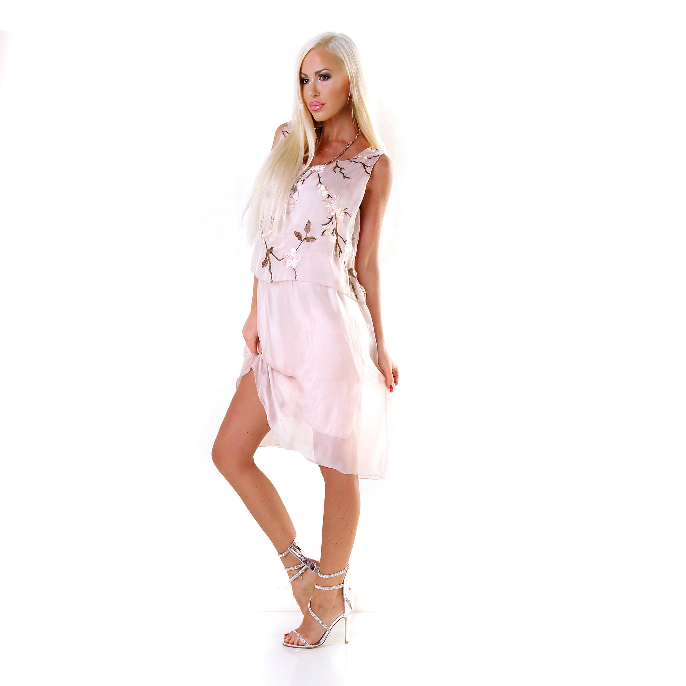 Midikleid Kleid Volant Cocktail Kirschblüte Stickerei