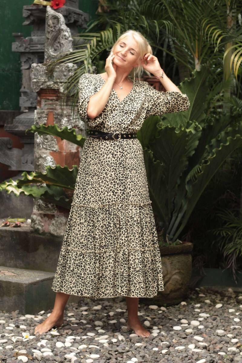 Midikleid Leoprint  Boho Leoparden Kleid  Sommerliche