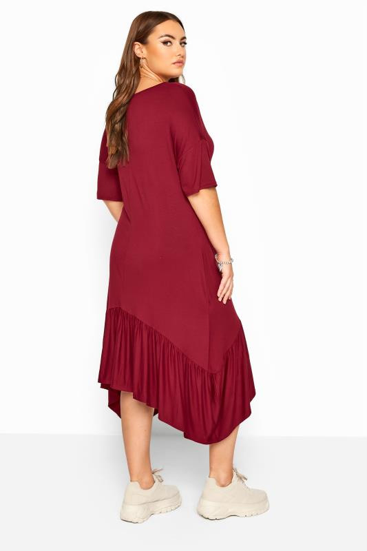 Midikleid Mit Zipfelsaum  Weinrot  Yours Clothing
