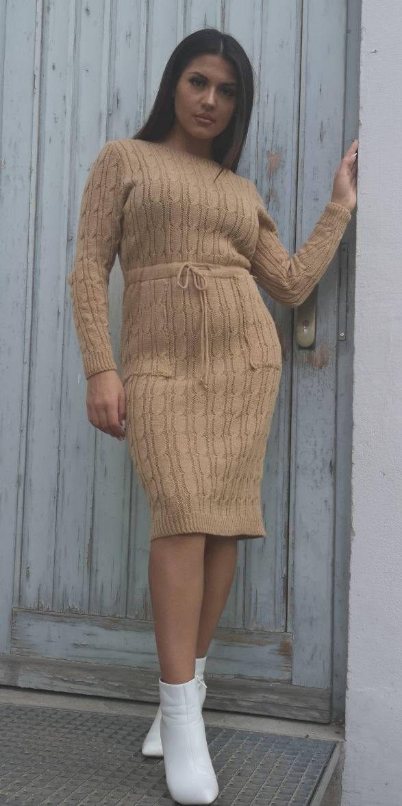 Midistrickkleid Mit Zugband  Mónage Fashion Store