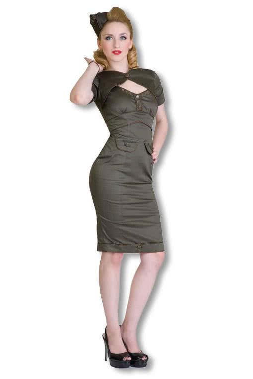 Military Kleid Khaki Rockabilly Kleid50Er Jahre Kleid