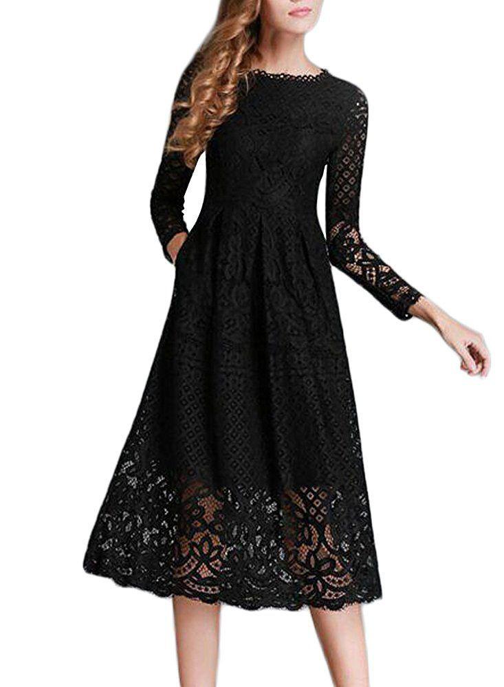 Minetom Damen Kleid Lange Ärmel Sommerkleid Spitze Elegant