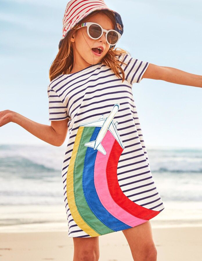 Mini Boden  Stripy Appliqué Jersey Dress  Kids Dress