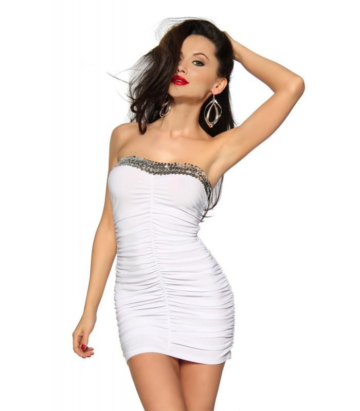 Minikleid Mit Pailletten Weiß  At12883  Fashionmoon