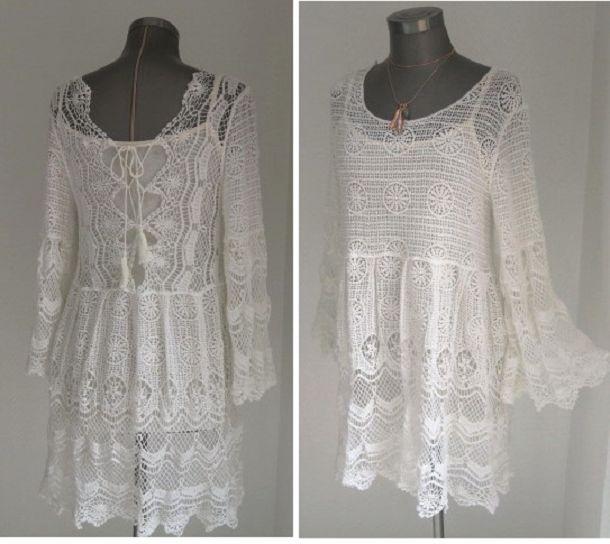 Minikleider  Spitzen Kleid Baumwoll Spitze Häkelkleid In