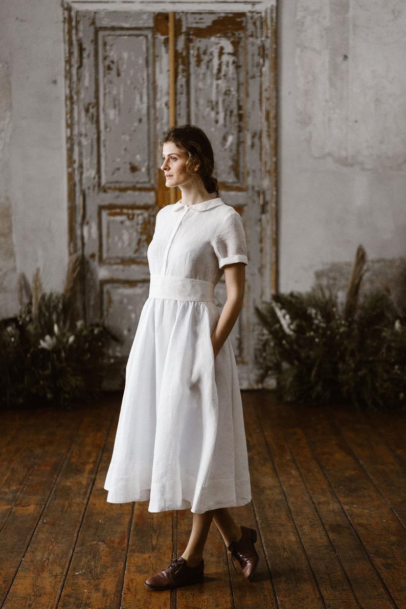Minimalistische Hochzeitskleid Leinen Kleid Braut Leinen