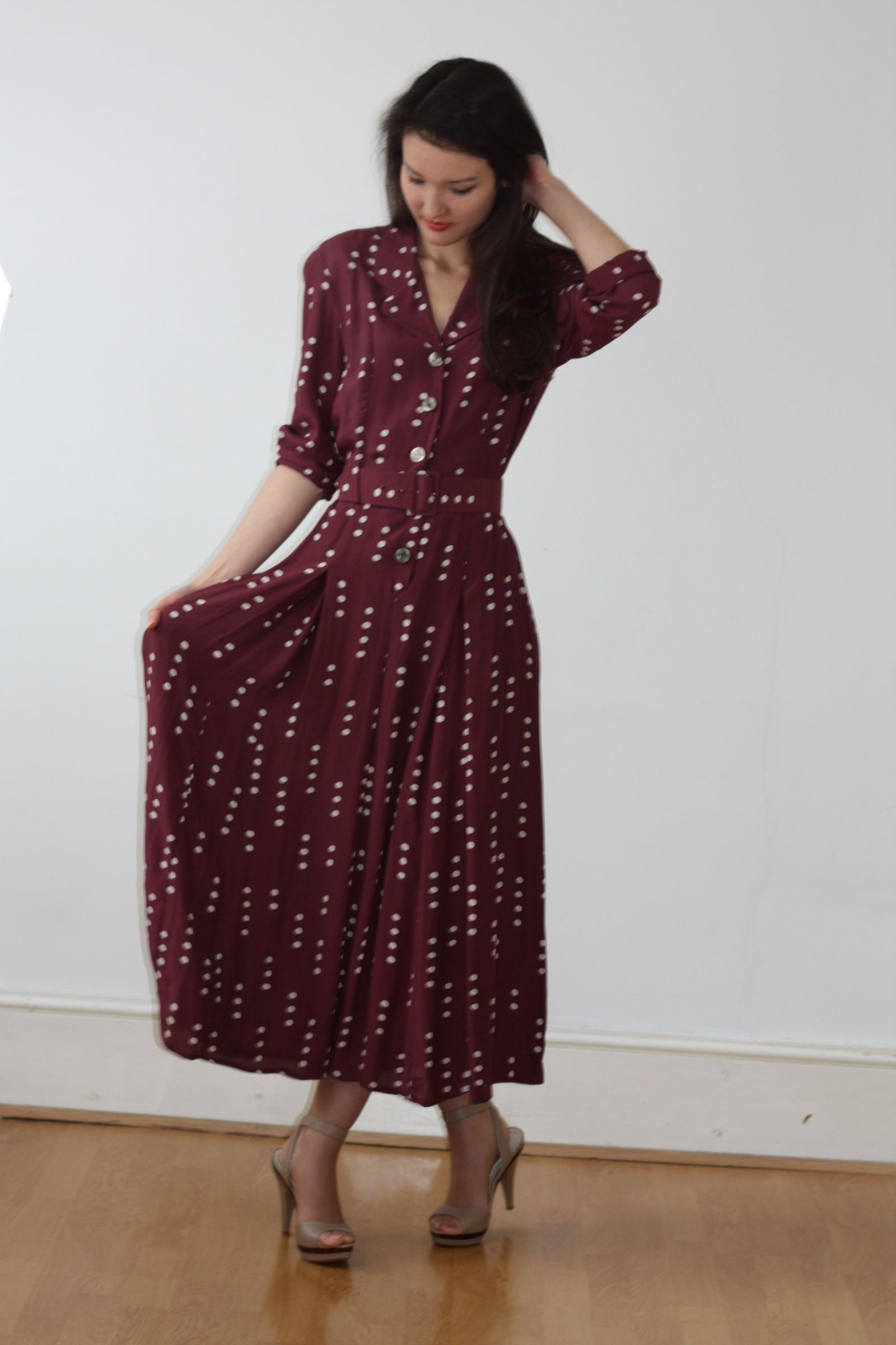 Miniola Vintage  1980S Laura Ashley Spotted Dress With