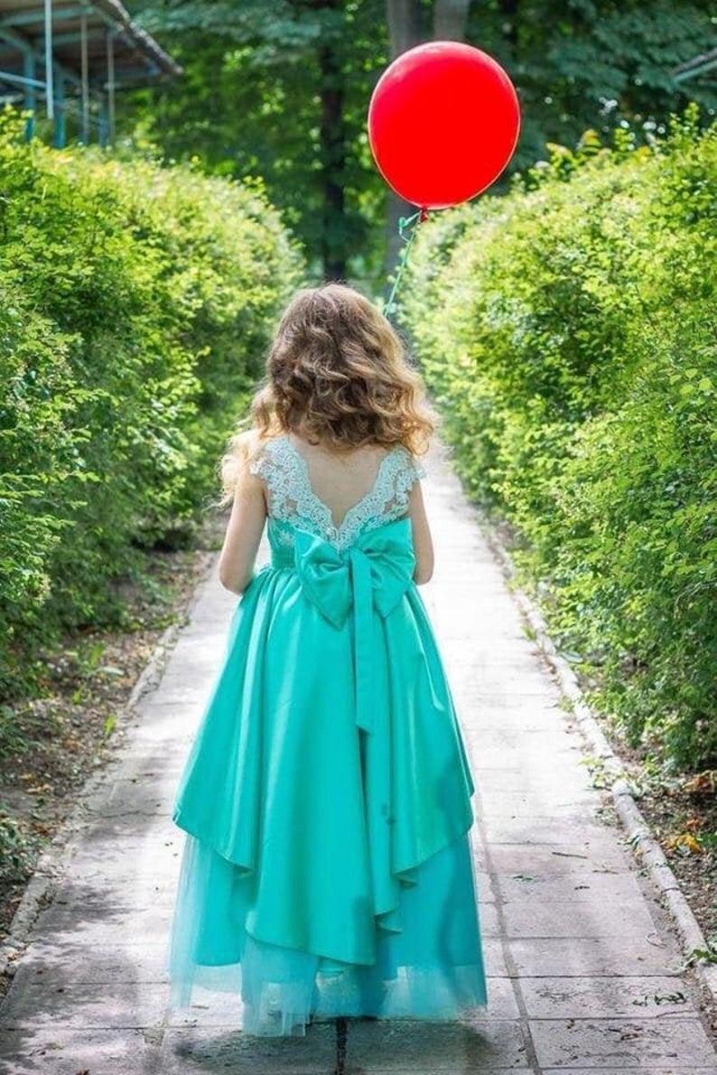 Mint Geburtstag Kleid Eine Linie Prinzessin Kleid Baby