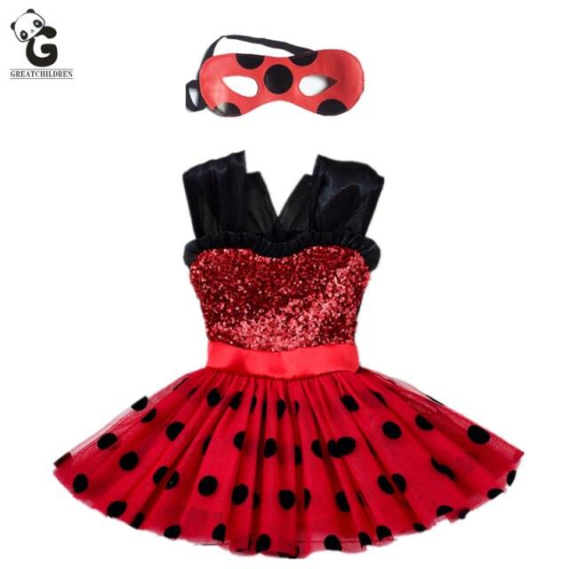 Miraculous Girls Dress Kids Flash Dress For Girl Mask