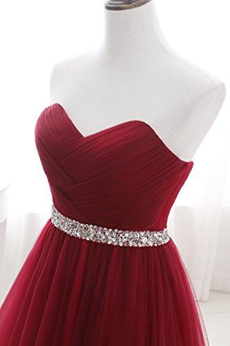 Misshow Damen Abendkleid Lang Spitze Alinie Rot