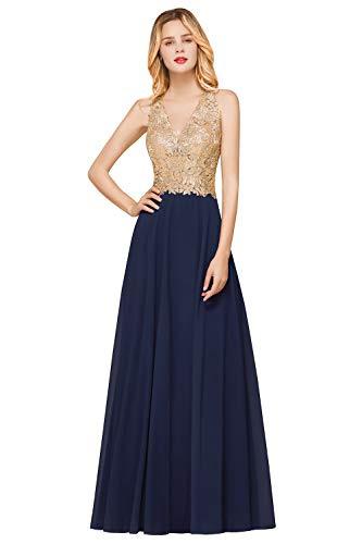 Misshow Damen Elegant Chiffon Abendkleider Maxilang