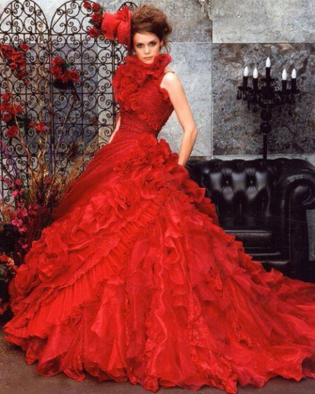Mit Bildern  Farbige Brautkleider Rote Hochzeitskleider