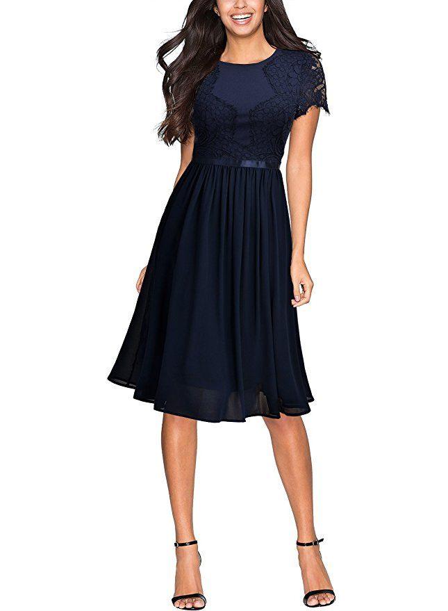 Miusol Damen Abendkleid Sommer Chiffon Festlich Kleid