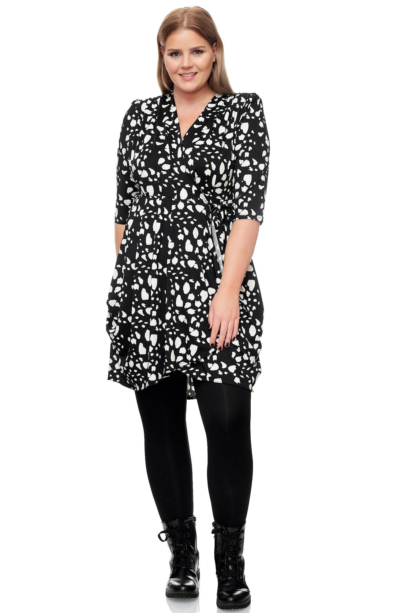 Mode Für Mollige Tunika Wickelkleid In Schwarzweiß  Mode