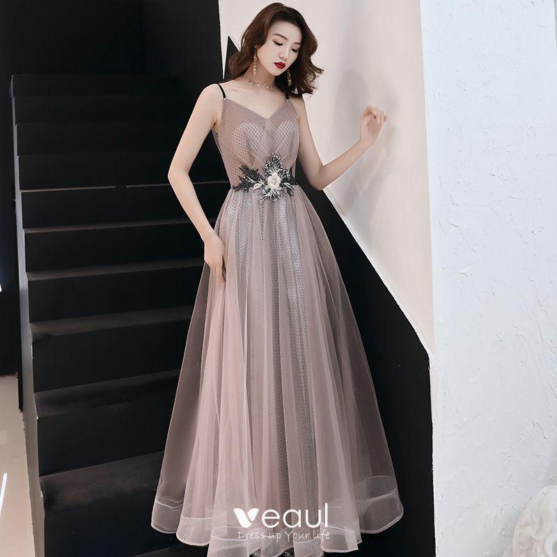 Mode Rosa Abendkleider 2019 A Linie Applikationen Spitze