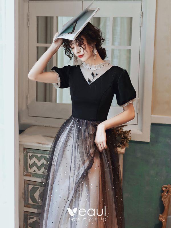 Mode Schwarz Abendkleider 2020 A Linie Rundhalsausschnitt
