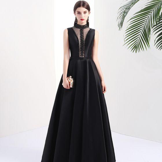 Mode Schwarz Durchbohrt Abendkleider 2017 A Linie