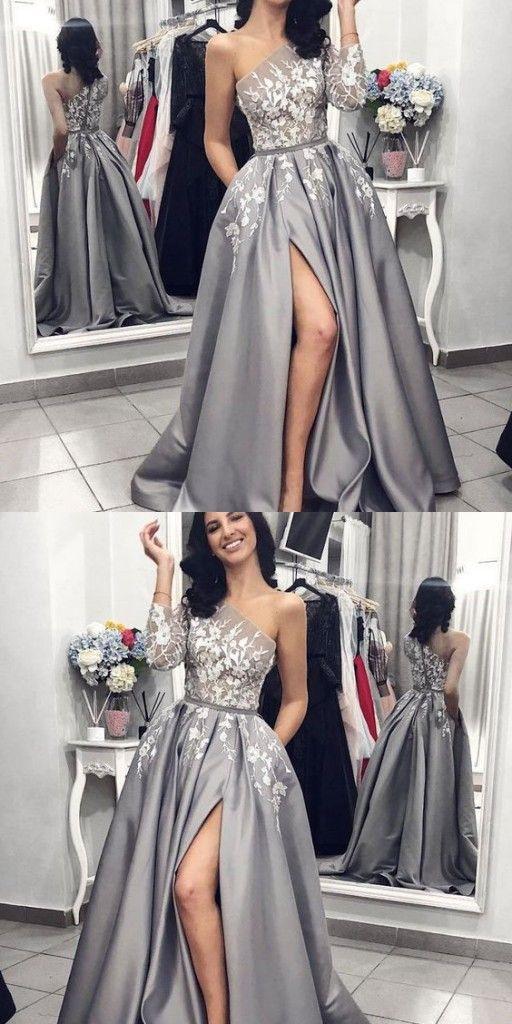 Modern Silber Abendkleider Mit Ärmel  Abendmoden Spitze
