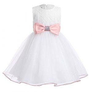 Modernes Babymädchen Kleid Weiß Rosa Taufkleid  Babyfest24