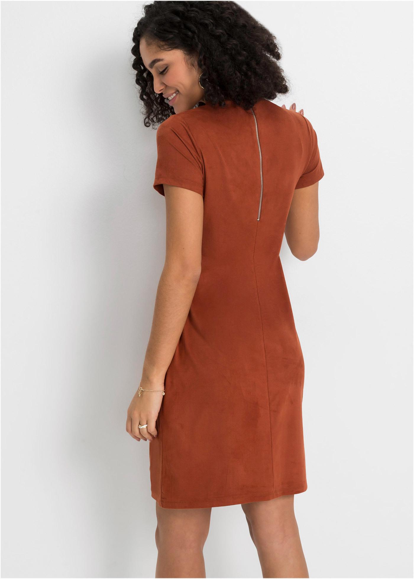 Modernes Kleid Aus Lederimitat - Cognac